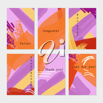 Grunge texture abstract stokes purple orange.Hand drawn creative invitation greeting cards.Poster placard flayer design templates. Anniversary Birthday wedding party cards.Isolated on layer.