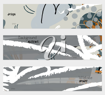 Roughly drawn floral elements gray banner set.Hand drawn textures creative abstract design. Website header social media advertisement sale brochure templates. Isolated on layer