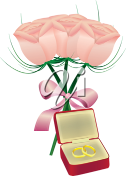 Royalty Free Clipart Image of a Bouquet of Roses and a Jewellery Box With Rings