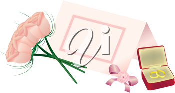 Royalty Free Clipart Image of a Bouquet of Roses, a Place Card and Wedding Bands