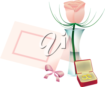 Royalty Free Clipart Image of a Rose in a Vase With a Place Card and Rings in a Box