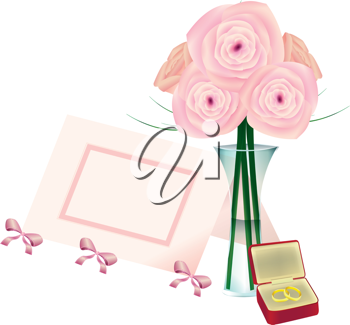 Royalty Free Clipart Image of Flowers, a Place Card and a Jewellery Box With Rings
