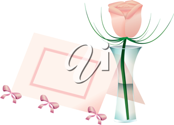 Royalty Free Clipart Image of a Flower in a Vase and a Place Card