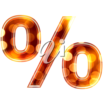 3d percent sign with glowing lights texture