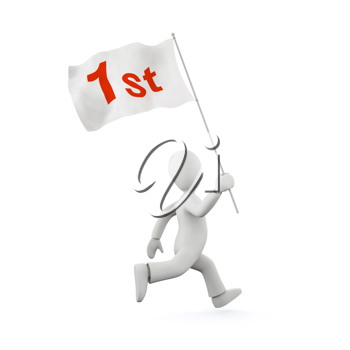 Royalty Free Clipart Image of a Man Running with 1st Place Flag