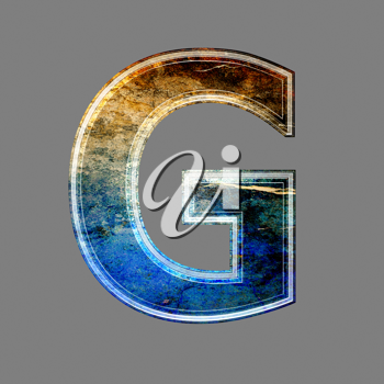 grunge 3d  letter isolated on grey background - G