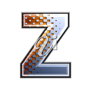 3d letter with abstract texture - z