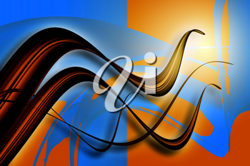 An abstract and colored 3d wave