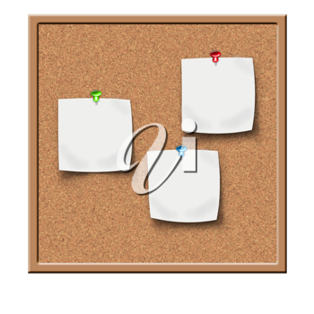 Royalty Free Clipart Image of a Cork Board With Notes