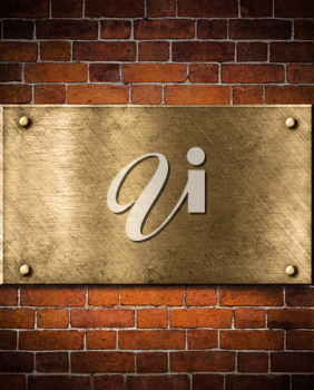 Royalty Free Photo of a Metal Plate on a Brick Wall