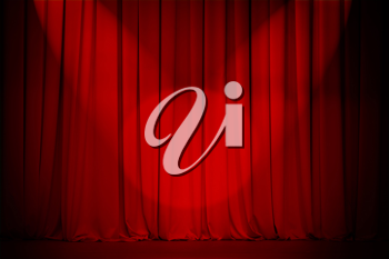 Royalty Free Photo of a Red Theatre Curtain