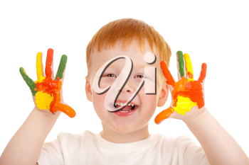 Royalty Free Photo of a Boy With Painted Hands
