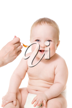 Royalty Free Photo of a Baby Being Fed