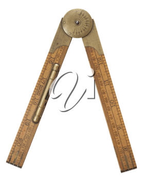Royalty Free Photo of an Antique Carpenter's Boxwood Folding Ruler