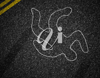 Chalk outline of dead pedestrian after running-down accident