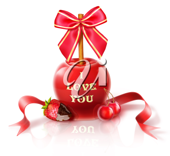 Royalty Free Clipart Image of a Candy Apple, Strawberries and Cherries