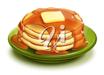 Royalty Free Clipart Image of a Pile of Pancakes