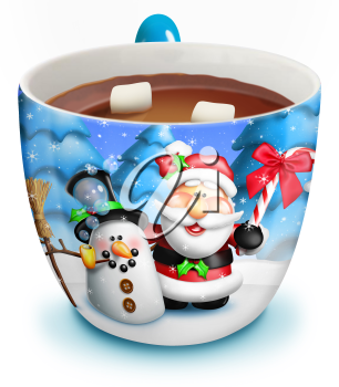 Royalty Free Clipart Image of Hot Chocolate in a Christmas Mug