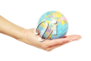 Royalty Free Photo of a Person Holding a Small Globe