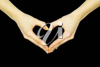 Royalty Free Photo of a Heart Made From a Person's Hands