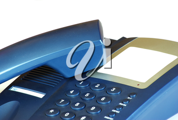 blue office telephone on a white  background