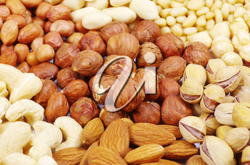 various nuts on a background