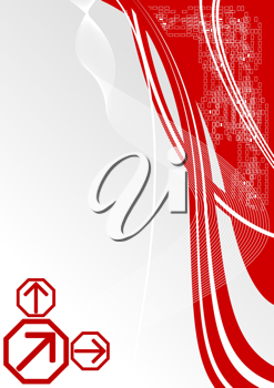 Royalty Free Clipart Image of a Red Waves Background
