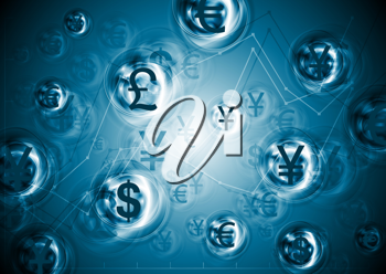 Royalty Free Clipart Image of a World Currencies Background