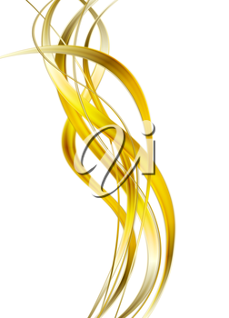 Bright glow golden waves on white background. Vector graphic design