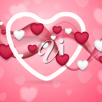 Pink and white Valentines Day abstract background with smooth waves and hearts. Vector template design