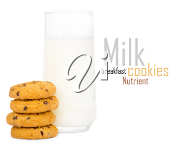 Royalty Free Photo of a Glass of Milk With cookies