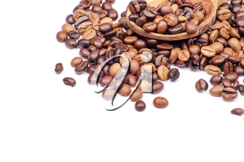 Coffee with spoon on white background