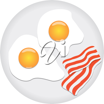 Royalty Free Clipart Image of Bacon and Eggs on a Plate