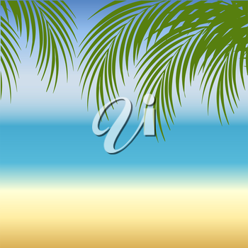 Beach  background with sea, sand and palm trees