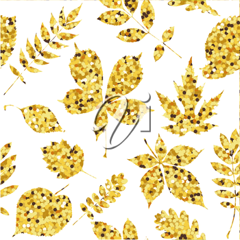 Autumn fall. Seamless pattern with golden leaves. Vector illustration.