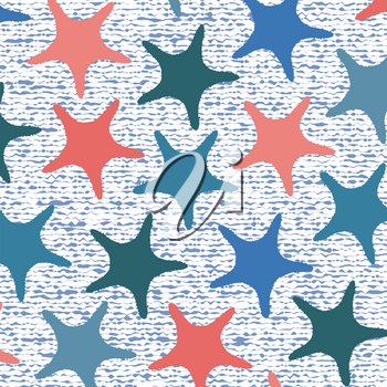 Living coral starfish pattern with stripes. Vector illustration