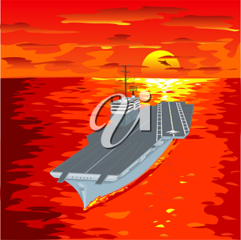 Royalty Free Clipart Image of an Aircraft Carrier