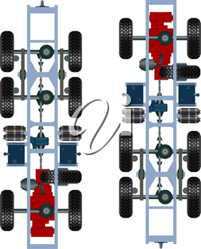 Royalty Free Clipart Image of Truck Suspension