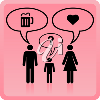 Royalty Free Clipart Image of People With Thought Bubbles