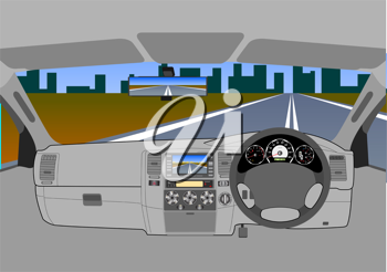 Royalty Free Clipart Image of a Car's Dashboard