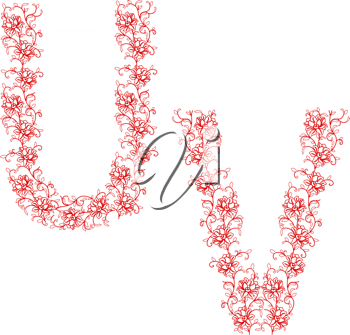 Royalty Free Clipart Image of Floral Letters