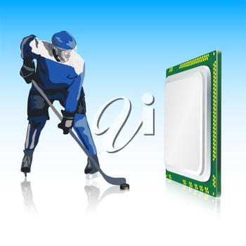 Royalty Free Clipart Image of a Hockey Player and Computer Processor