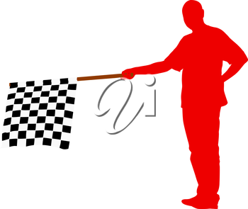 Man waving at the finish of the black white, checkered flag. Vector illustration.