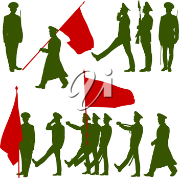 Silhouette  military people  with flags collection.  Vector illustration.