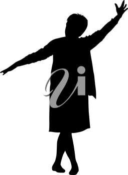 Black silhouette woman with her hands raised. Vector illustration.