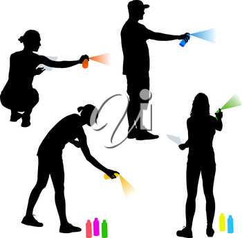 Set silhouette man and woman holding a spray on a white background. Vector illustration.