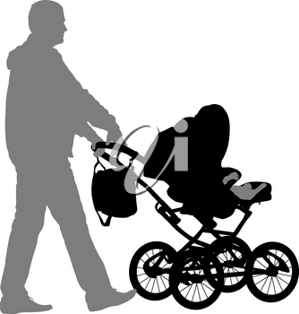 Black silhouettes father with pram on white background. Vector illustration.