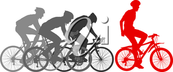 Silhouettes of racers on a bicycle, fight at the finish line.