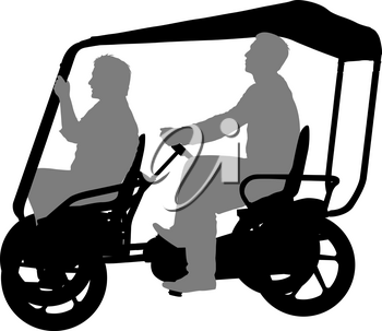 Silhouette of two athletes on tandem bicycle on white background.