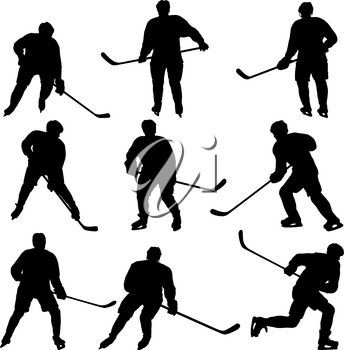 Set of silhouettes of hockey player on white background.